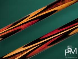 Бильярдный кий ручной работы - змеиное дерево (Premier League - 20) Попугай, рисунок запилов